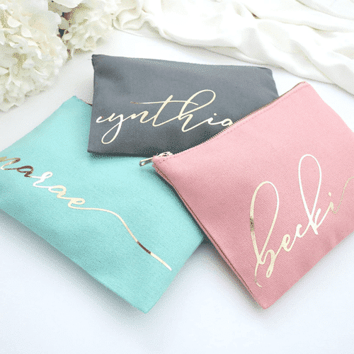 an image of a personalised make up bag - one of the Taz & Jay personalised best friend gifts ideas