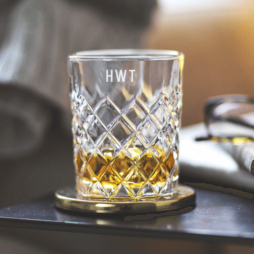 an image of a personalised cut glass tumbler