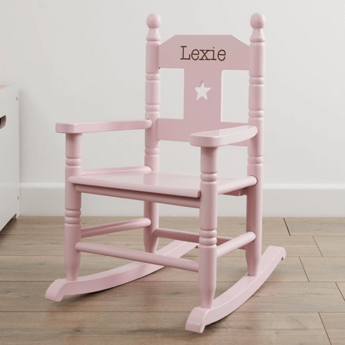 an image of a personalised pink rocking chair