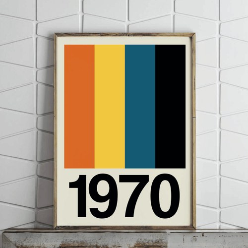an image of a retro stripe personalised year print