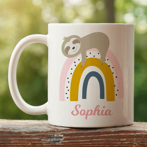 an image of a personalised animal themed rainbow mug