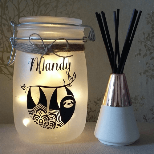 an image of a personalised sloth night light - one of our ideas of sloth gifts for her