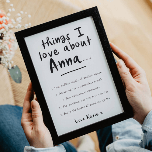 an image of a personalised things we love about our best friend print gift