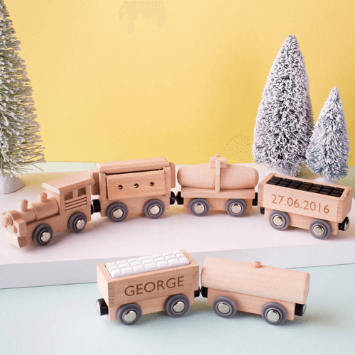 an image of a personalised wooden train set