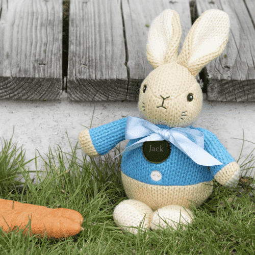 an image of a personalised peter rabbit knitted toy