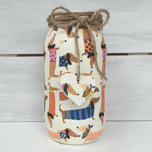 an image of a sausage dog jar - one of our suggestions of sausage dog gifts