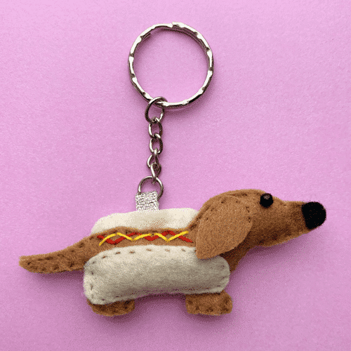 an image of a sausage dog keyring - one of our suggestions of miniature dachshund gifts