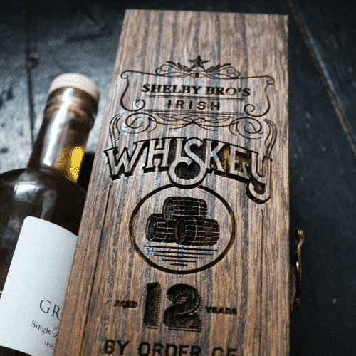 an image of whiskey box in a Shelby Bros Peaky Blinders gift box