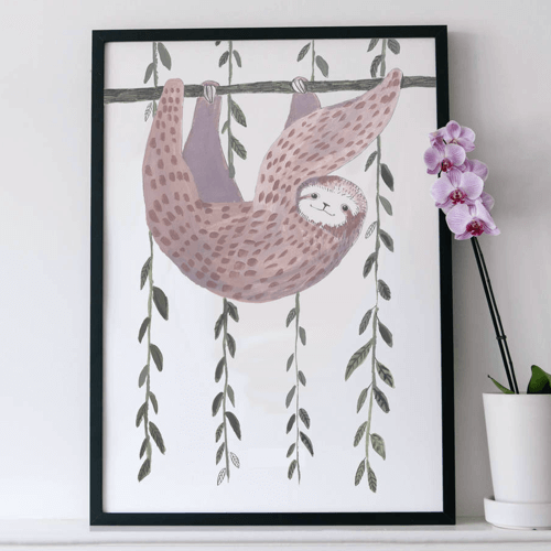 an image of a sloth art print - one of our ideas for sloth presents