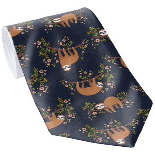 an image of an animal themed tie for men - one of our ideas of sloth gifts for him