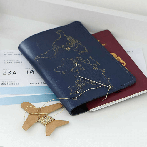 an image of a stitch your own passport cover kit