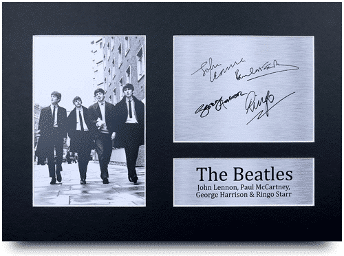 an image of a Beatles signed A4 printed autograph