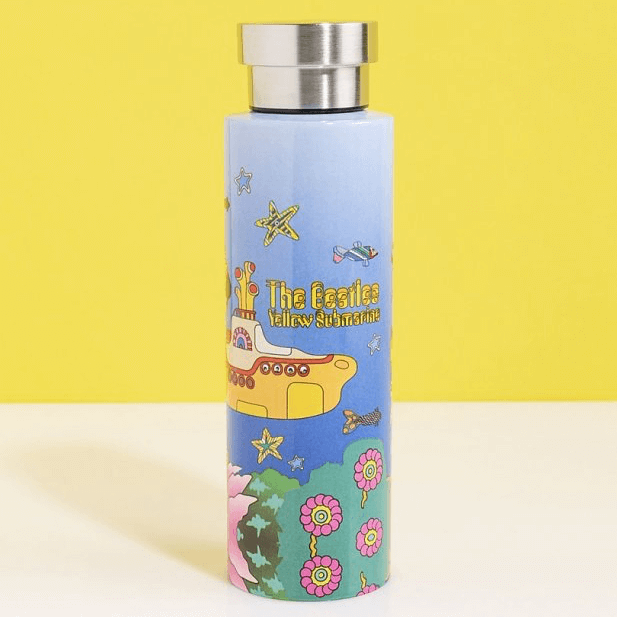 an image of a Beatles-themed Yellow Submarine thermal flask