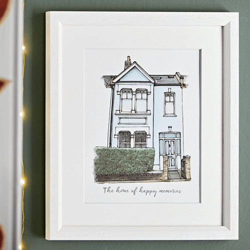 an image of a personalised watercolour house portrait gift idea