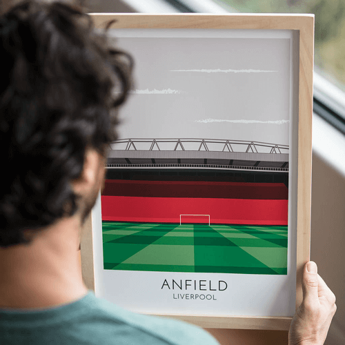 an image of a personalised football stadium illustration print