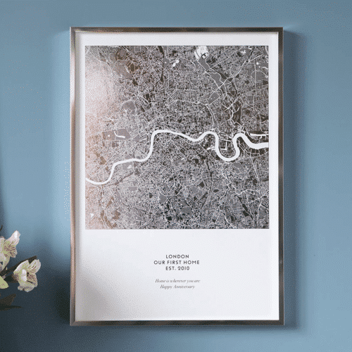 an image of a personalised metallic map print