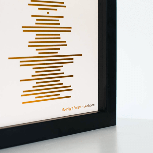 an image of a minimalist metallic soundwave print - one of our suggestions of personalised 30th birthday gifts for him