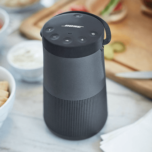 an image of the Bose SoundLink Revolve+ Water-resistant Portable Bluetooth Speaker with Built-in Speakerphone and Handle - one of our suggestions of 30th birthday gifts for men