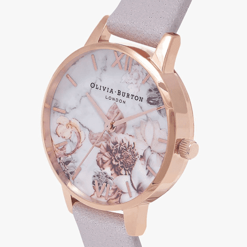 an image of a Olivia Burton Women's Marble Florals Leather Strap Round Watch