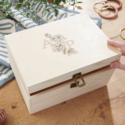 an image a personalised birth flower keepsake box - one of our traditional 21st birthday gifts for daughter ideas