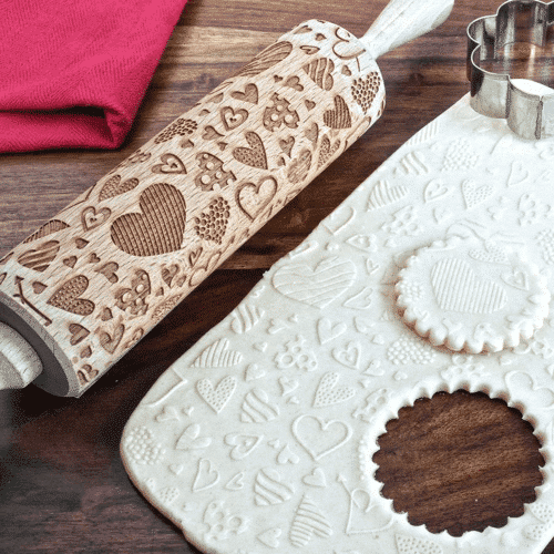 an image of a hearts embossing rolling pin