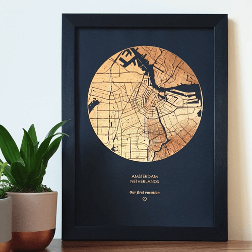an image of a copper foil round print map