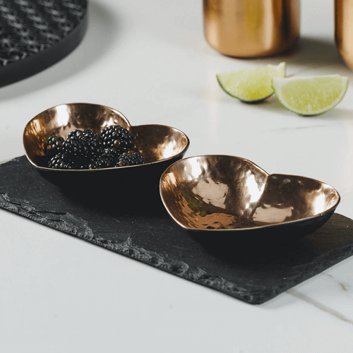 an image of copper heart dipping bowls