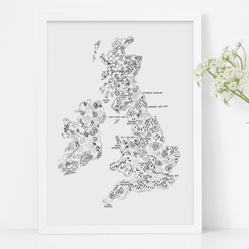 an image of an illustrated UK and Ireland walking map - one of our ideas of personalised gifts for walkers