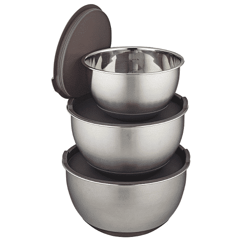 an image of Mary Berry stainless steel mixing bowls with lids