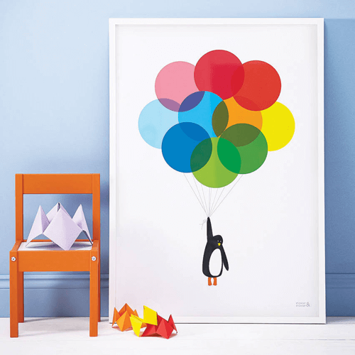 an image of a mr penguins balloon print