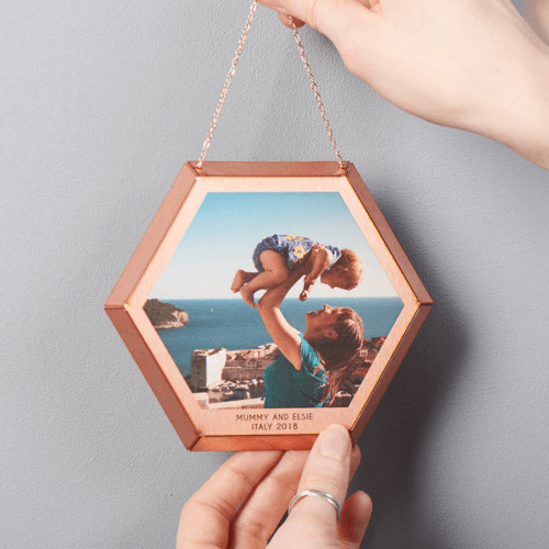 an image of a personalised hanging copper photo print