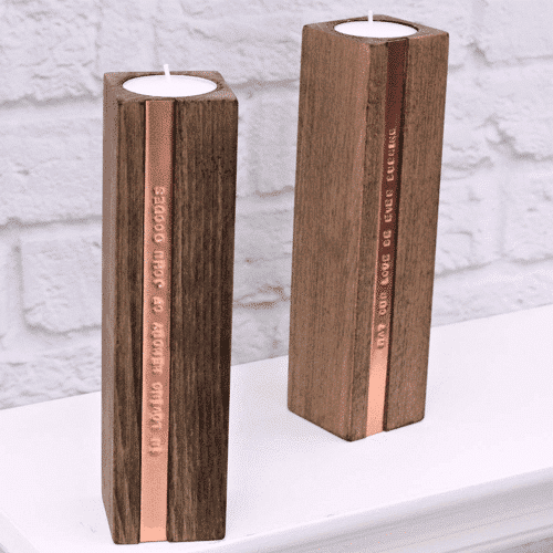 an image of copper and wood personalised tealight candle holders