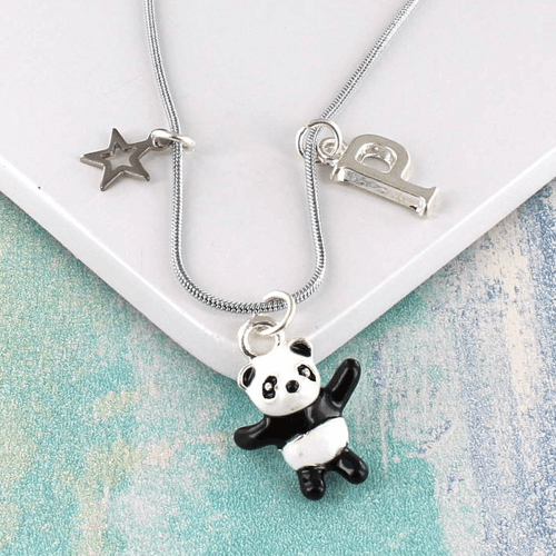 an image of a personalised panda charm necklace