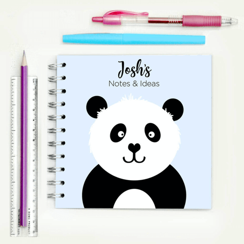 an image of a personalised panda notebook