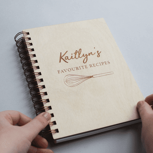an image of a personalised wooden recipe book