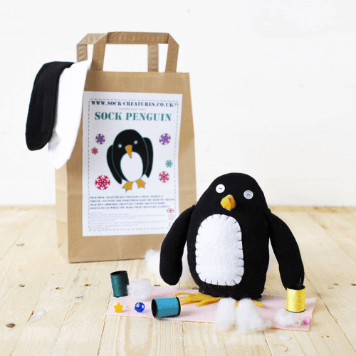 an image of a sock penguin craft kit