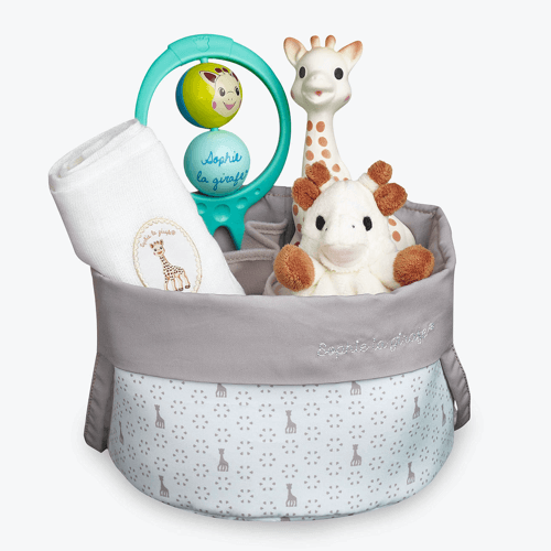 an image of a Sophie La Giraffe birth gift basket - one of our giraffe gifts for baby suggestions