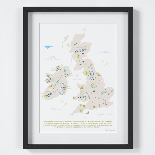 an image of a UK and Ireland national parks art print - one of our ideas of quirky or unusual gifts for walkers