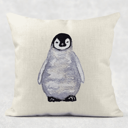 an image of a watercolour cushion - one of our penguin gift ideas