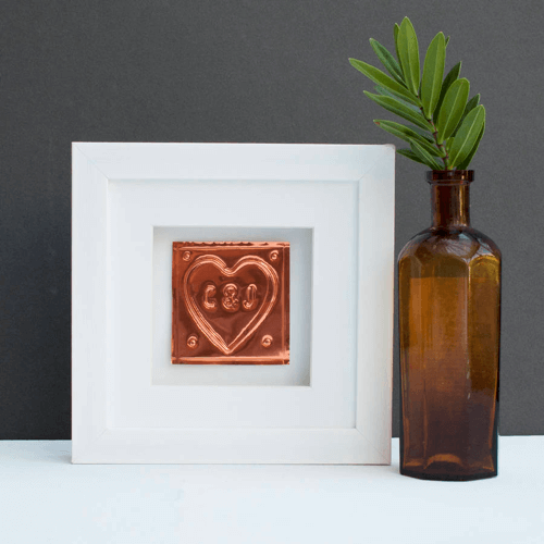an image of a copper heart 7th wedding anniversary gift