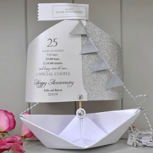 an image of a silver wedding anniversary paper boat card