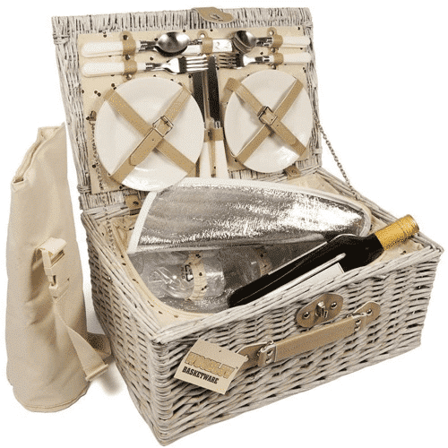 an image of a luxury 4 person wicker chiller picnic hamper basket with cooler compartment and bottle cooler bag - one of our 25th wedding anniversary gift suggestions