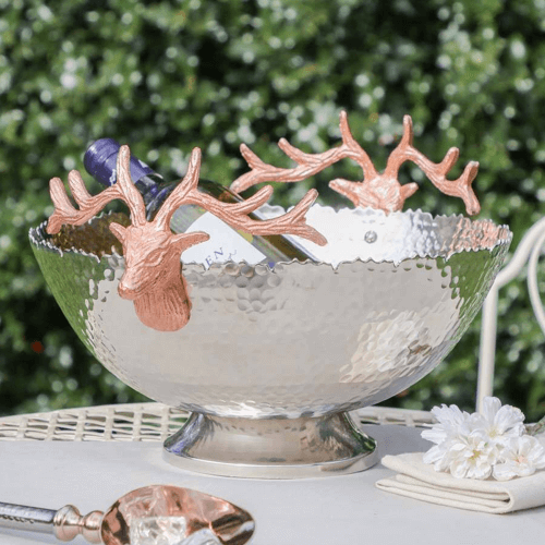 an image of a luxury hammered silver stag champagne bucket