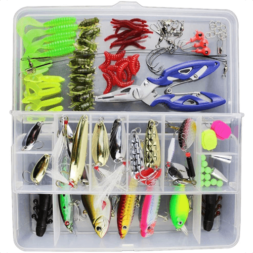 an image of a 120 piece mixed fishing lures kit