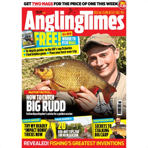 an image of an Angling Times magazine that would be an ideal fishing gift when bought as a subscription
