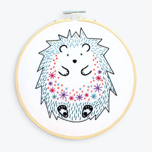 an image of a hedgehog embroidery kit