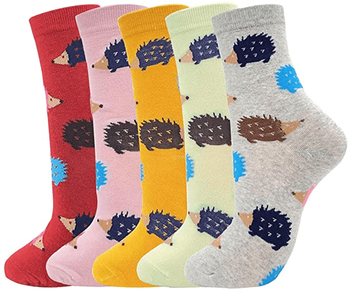 an image of hedgehog socks for women - one of our ideas of hedgehog gifts for her