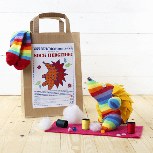 an image of a sock hedgehog craft kit