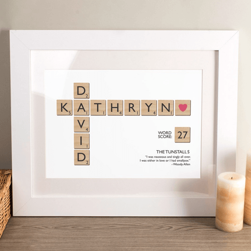 an image of a personalised framed print made from letter tiles