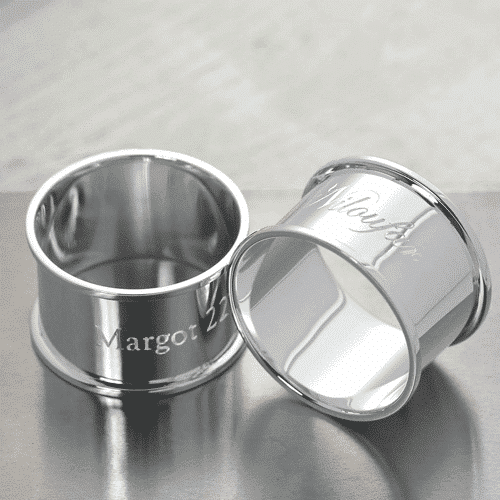 an image of a personalised silver napkin ring
